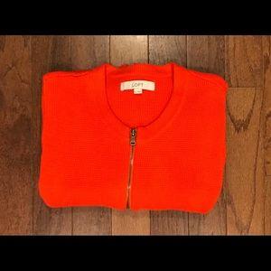 🍁Ann Taylor Loft Orange Zip-up Sweater